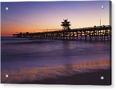 Municipal Pier At Sunset San Clemente Acrylic Print by Richard Cummins