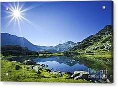 Muratov Lake Against Blue Sky Acrylic Print by Evgeny Kuklev