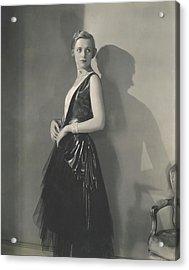 Muriel Finley Wearing A Dress By Frances Clyne Acrylic Print