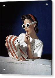 Muriel Maxel Applying Lipstick Acrylic Print by Horst P. Horst