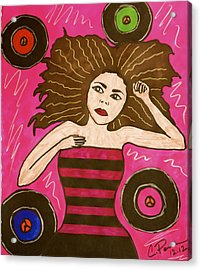 Acrylic Print featuring the drawing Muse-ic by Chrissy  Pena