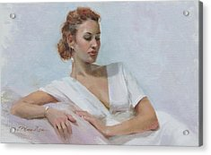 Muse In White Acrylic Print by Anna Rose Bain