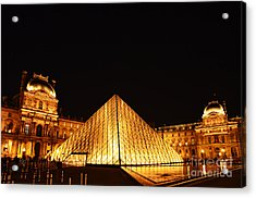 Musee Du Louvre At Night Acrylic Print