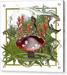 Mushroom Fairy Acrylic Print by Jennifer Schwab