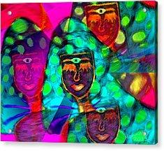 Mushroomlady In The Sun Happy Acrylic Print by Hanna Khash