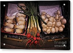 Mushrooms In The Seville Market  Acrylic Print by Mary Machare