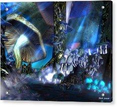 Acrylic Print featuring the digital art Mushrooms by Susanne Baumann
