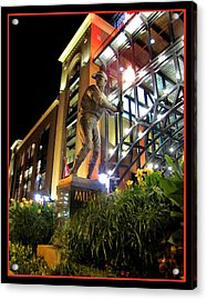 Musial Statue At Night Acrylic Print by John Freidenberg