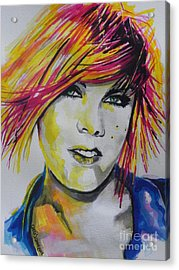 Music Artist..pink Acrylic Print by Chrisann Ellis