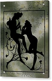 Acrylic Print featuring the digital art Music Daisies And Silhouette by Sandra Foster