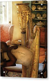 Music - Harp - The Harp Acrylic Print by Mike Savad
