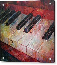 Music Is The Key - Painting Of A Keyboard Acrylic Print by Susanne Clark