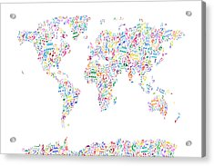 Music Notes Map Of The World Acrylic Print by Michael Tompsett