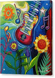 Music On Flowers Acrylic Print by Genevieve Esson