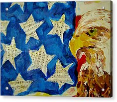 Musical Flag Stars Acrylic Print by Kat Griffin