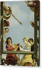Musical Group On A Balcony Acrylic Print by Gerrit van Honthorst