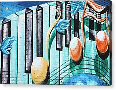 Musical Notes In Deep Ellum Acrylic Print by Lorri Crossno