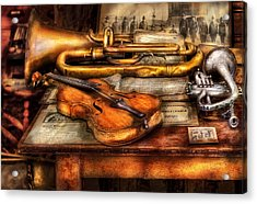 Musician - Horn - Two Horns And A Violin Acrylic Print by Mike Savad
