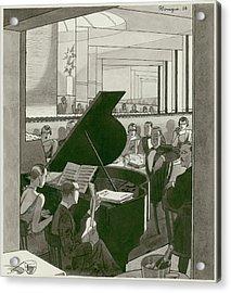 Musicians Entertain Patrons Acrylic Print by Pierre Mourgue