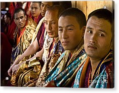 Acrylic Print featuring the digital art Musicians From Bhutan by Angelika Drake