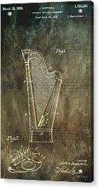 Musician's Harp Patent Acrylic Print by Dan Sproul