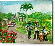 Musicians On Island Of Grenada Acrylic Print by Frank Hunter