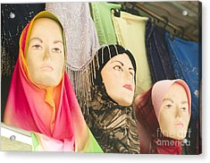 Muslim Woman Mannequin Wearing Headscarf-hijab Or Hijaab Acrylic Print by Tuimages