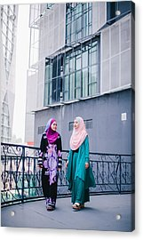 Muslim Women In Hijab In Discussion Acrylic Print by Mikhaella Ismail