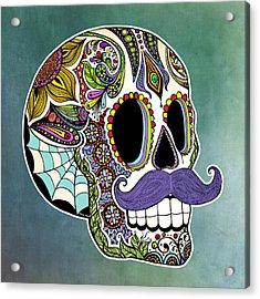 Mustache Sugar Skull Acrylic Print