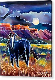 Mustang In The Moonlight Acrylic Print by Harriet Peck Taylor