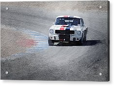 Mustang On Race Track Watercolor Acrylic Print