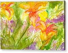Muti-colored Flowers Acrylic Print by Ramona Wright