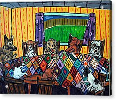 Mutts Quilting Acrylic Print by Jay  Schmetz