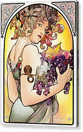My Acrylic Painting As An Interpretation Of The Famous Artwork By Alphonse Mucha - Fruit Acrylic Print by Elena Yakubovich
