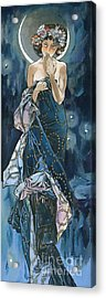 My Acrylic Painting As An Interpretation Of The Famous Artwork Of Alphonse Mucha - Moon - Acrylic Print by Elena Yakubovich