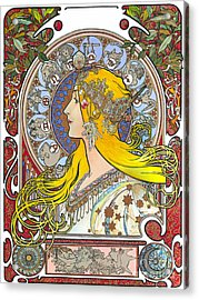 My Acrylic Painting As An Interpretation Of The Famous Artwork Of Alphonse Mucha - Zodiac - Acrylic Print