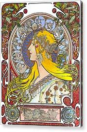 My Acrylic Painting As An Interpretation Of The Famous Artwork Of Alphonse Mucha - Zodiac - Acrylic Print by Elena Yakubovich