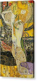 My Acrylic Painting As An Interpretation Of The Famous Artwork Of Gustav Klimt - Water Serpents I Acrylic Print by Elena Yakubovich