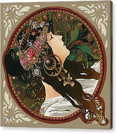 My Acrylic Painting As Interpretation Of Alphonse Mucha - Byzantine Head The Brunette Diagonal Frame Acrylic Print by Elena Yakubovich