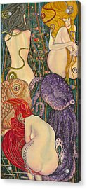 My Acrylic Painting Inspired By Klimt - Goldfish - Beethoven Frieze - Jurisprudence Final State - Acrylic Print by Elena Yakubovich