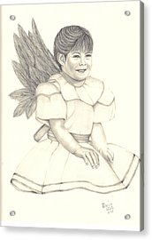Acrylic Print featuring the drawing My Angel by Patricia Hiltz