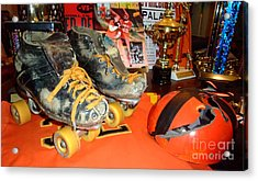 My Battle Scarred Roller Derby Skates And Helmet   Acrylic Print by Jim Fitzpatrick