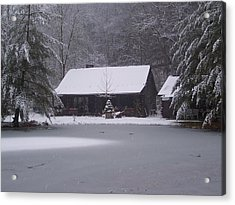 My Cabin In Winter Acrylic Print