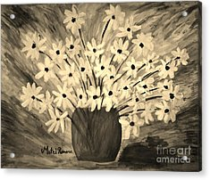 My Daisies Sepia Version Acrylic Print