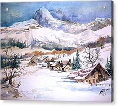 My First Snow Scene Acrylic Print