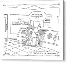 My First Visit To The Laundromat 'no Starch Acrylic Print by Jack Ziegler