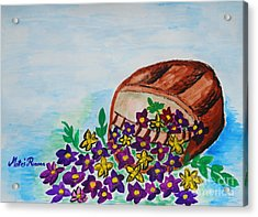 Acrylic Print featuring the painting My Flower Basket by Ramona Matei