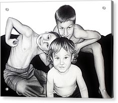 Acrylic Print featuring the drawing My Guys In 2010 by Danielle R T Haney