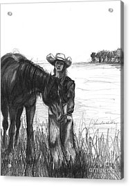 Acrylic Print featuring the drawing My Heart Is Big But It Beats Quiet by J Ferwerda