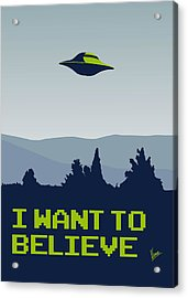 My I Want To Believe Minimal Poster Acrylic Print by Chungkong Art